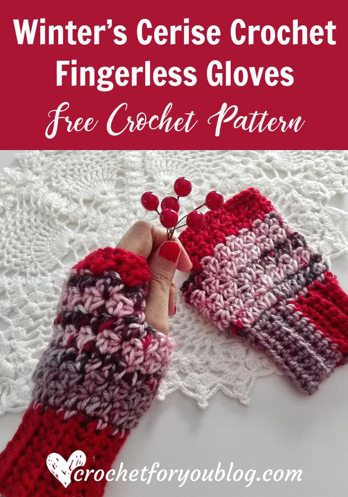 Winter's Cerise Crochet Fingerless Gloves - free crochet pattern