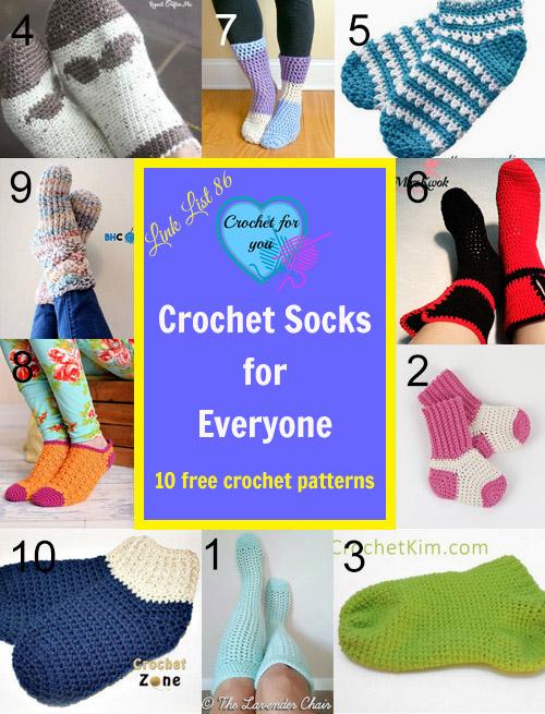 10 FREE Crochet Socks for Everyone