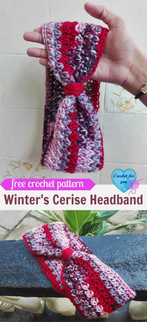 Winter's Cerise Crochet Headband Free Pattern