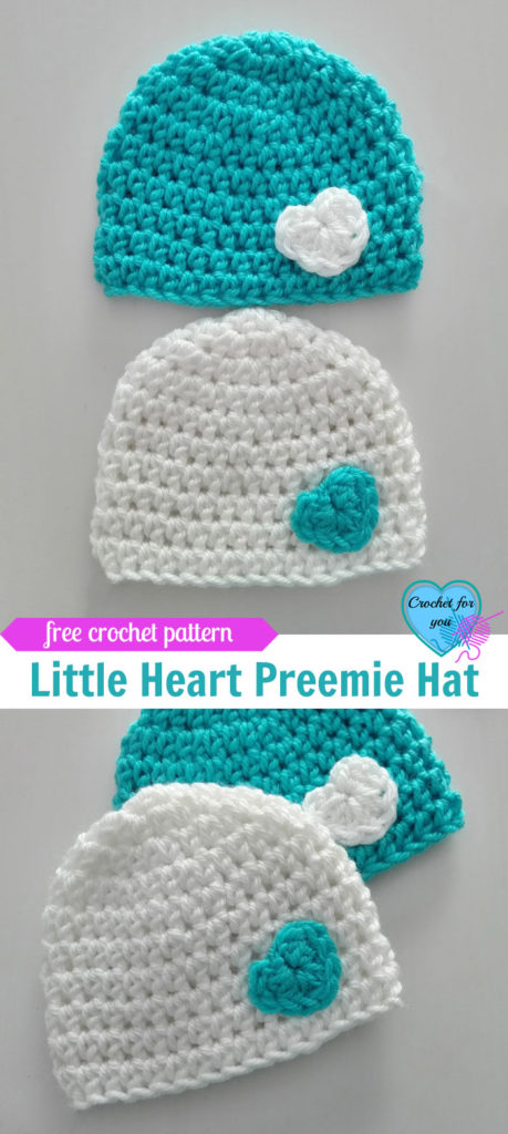 Little Heart Crochet Preemie Hat Free Pattern