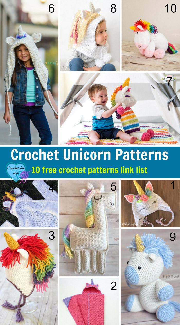 Crochet Unicorn Patterns - 10 free crochet patterns link list