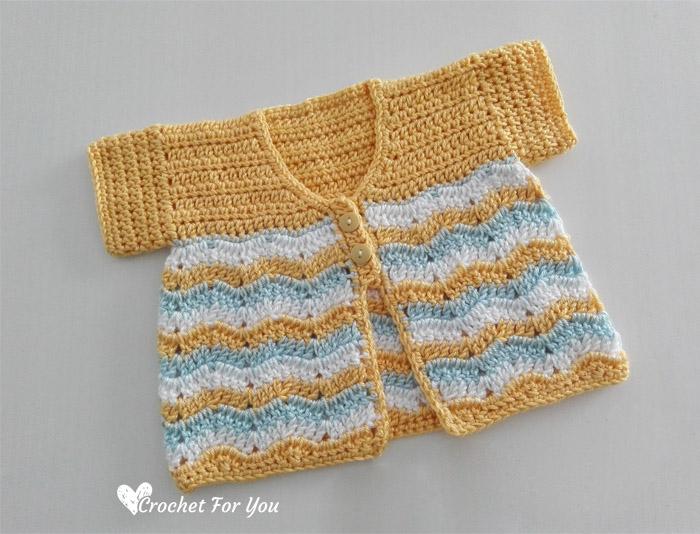Crochet Chevron Spring Baby Cardigan Free Pattern Crochet For You