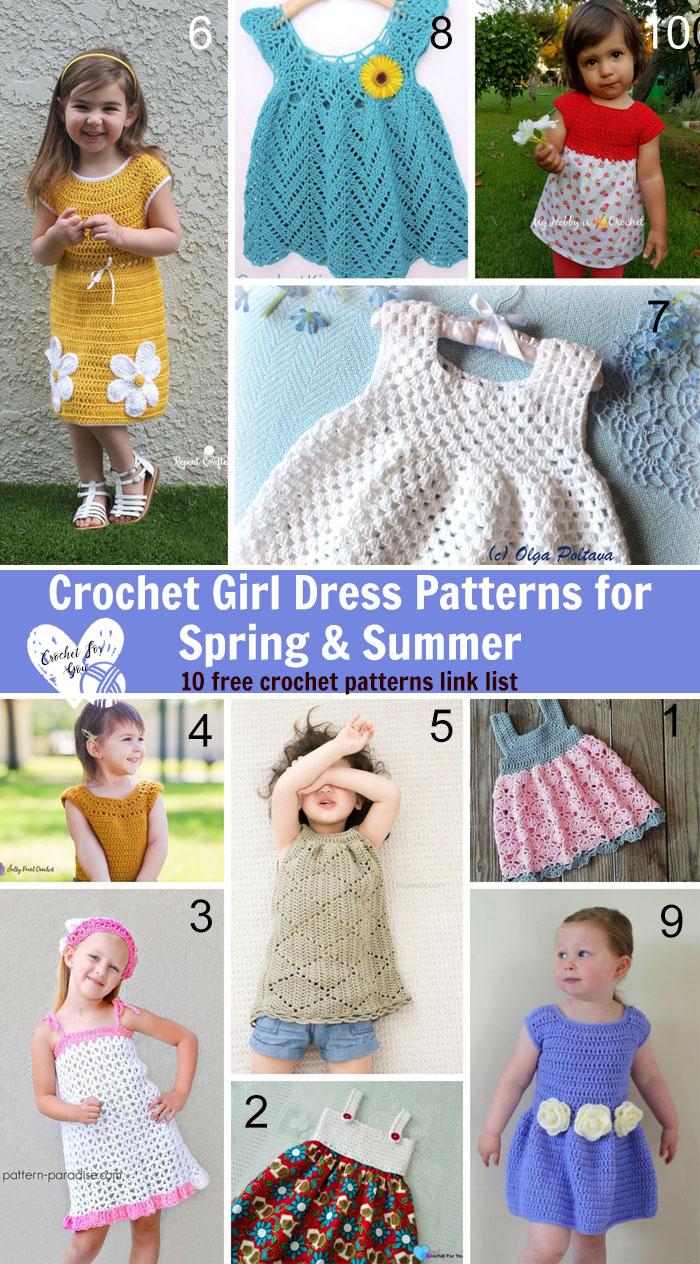 Crochet Girl Dress Patterns for Spring & Summer-10 free crochet patterns link list