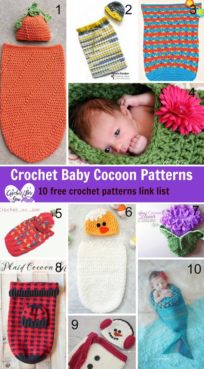 Crochet Baby Cocoon Patterns - 10 free crochet pattern l