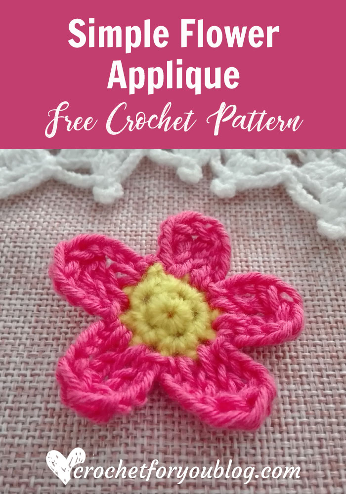 Crochet Simple Flower Applique- free pattern