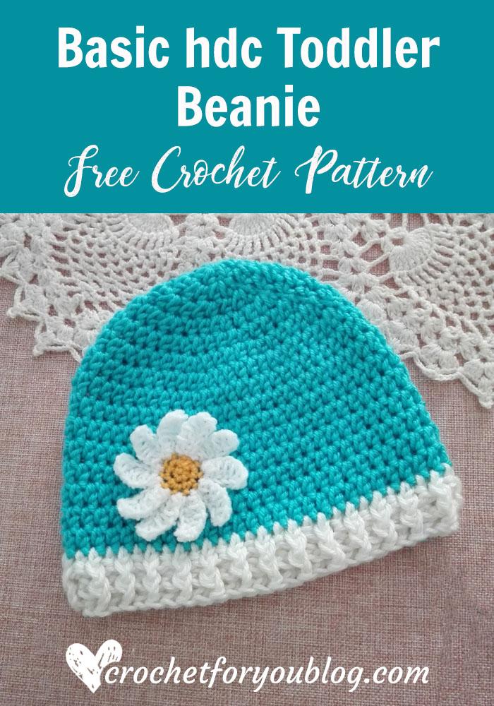 Crochet Basic hdc Toddler Beanie Free Pattern