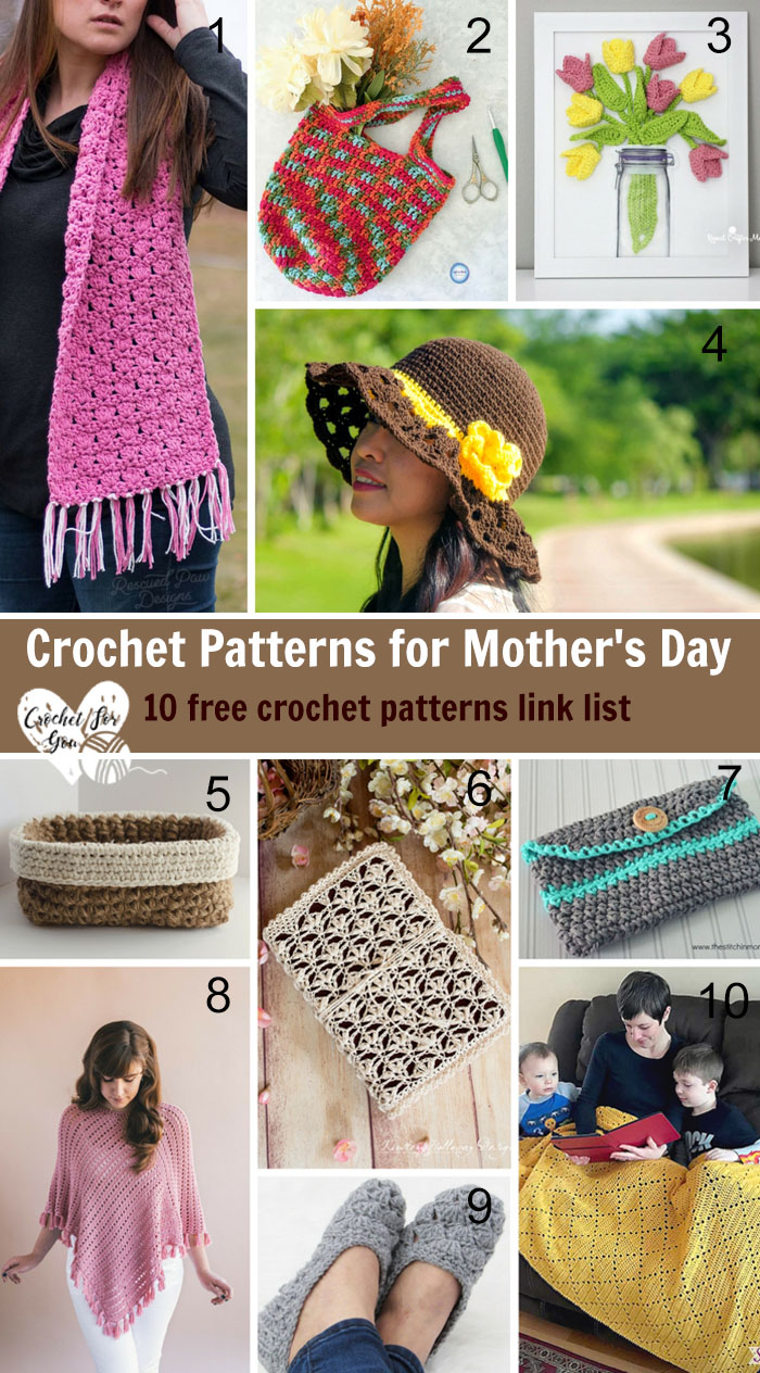 Crochet Patterns for Mother's Day - 10 free crochet patterns link list
