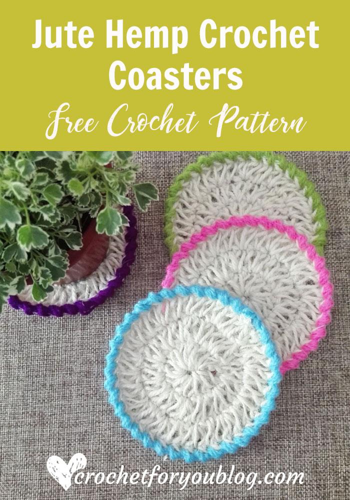 Jute Hemp Crochet Coasters - free pattern