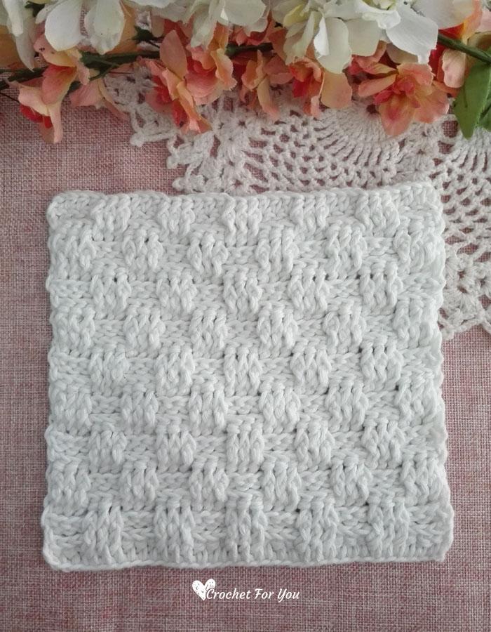Crochet Basketweave Stitch Dishcloth - free pattern