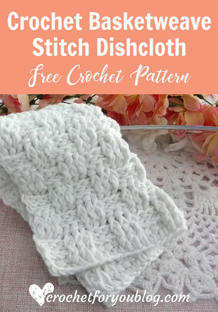 Crochet Basketweave Stitch Dishcloth - free pattern