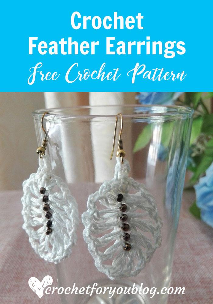 Crochet Feather Earrings - free pattern