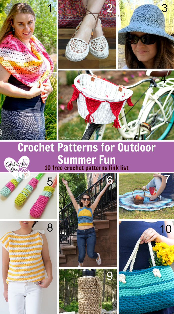 Crochet Patterns for Outdoor Summer Fun - 10 free crochet pattern link list