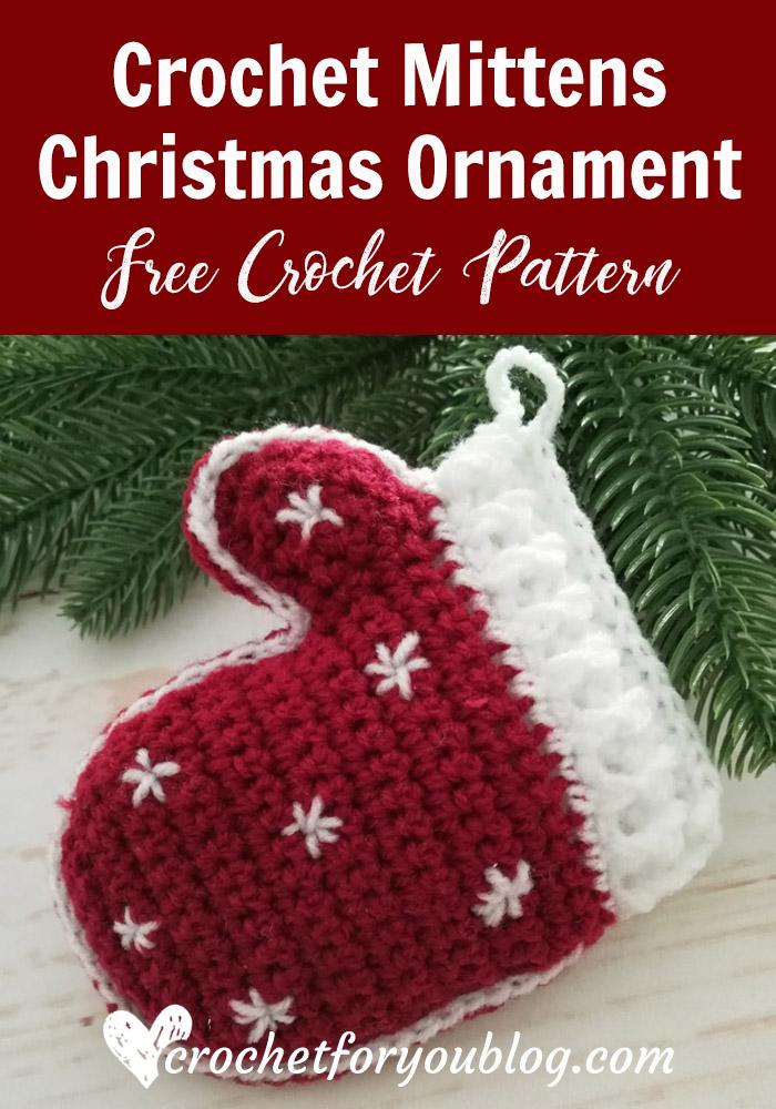 Crochet Mittens Christmas Ornament Free Pattern