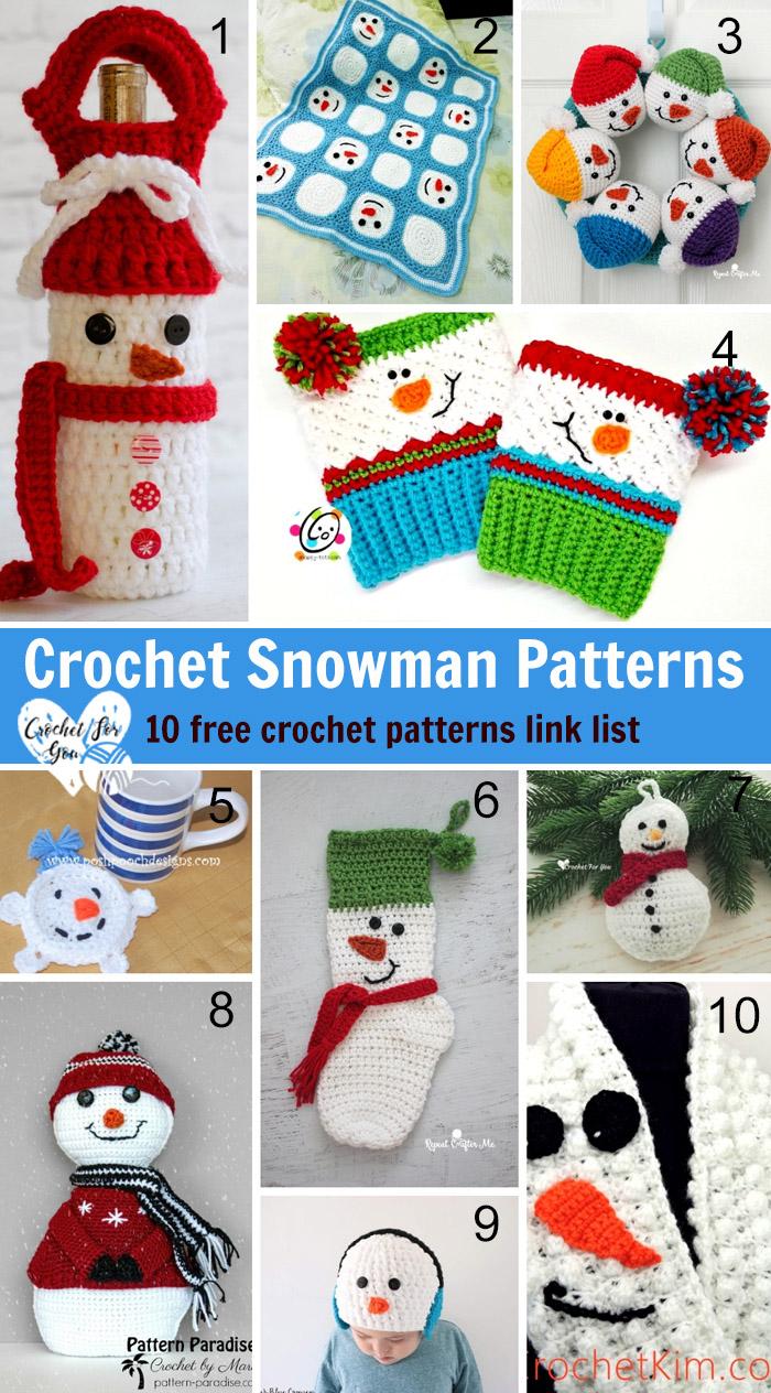 Crochet Snowman Patterns - 10 free crochet pattern link list