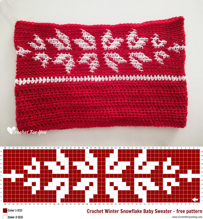 Crochet Winter Snowflake Baby Sweater - free pattern chart