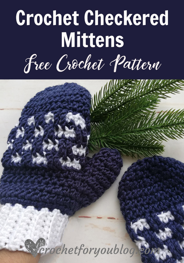 Crochet Checkered Mittens Free Pattern