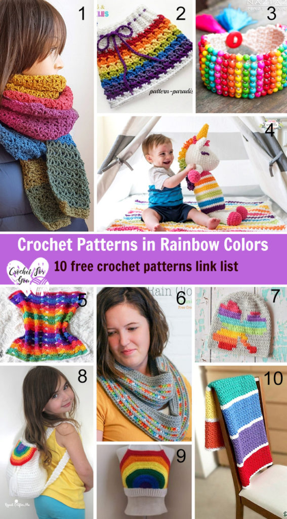 Crochet Patterns in Rainbow Colors