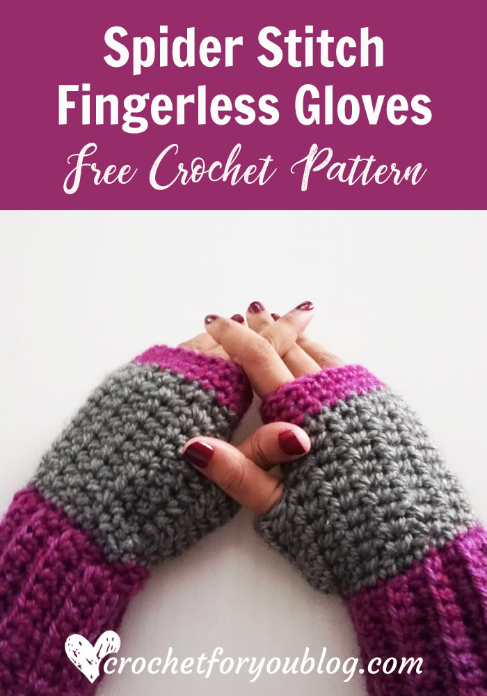Crochet Spider Stitch Fingerless Gloves Free Pattern