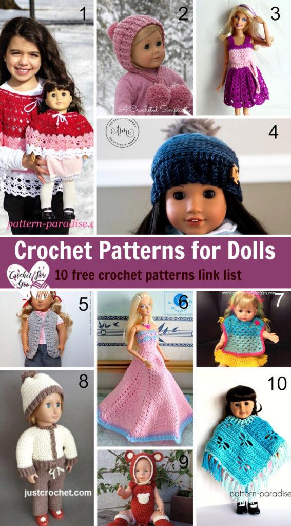 Crochet Patterns for Dolls - 10 free crochet patterns link list