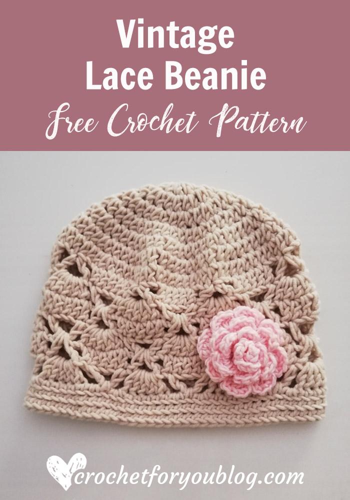 Crochet Vintage Lace Beanie Free Pattern