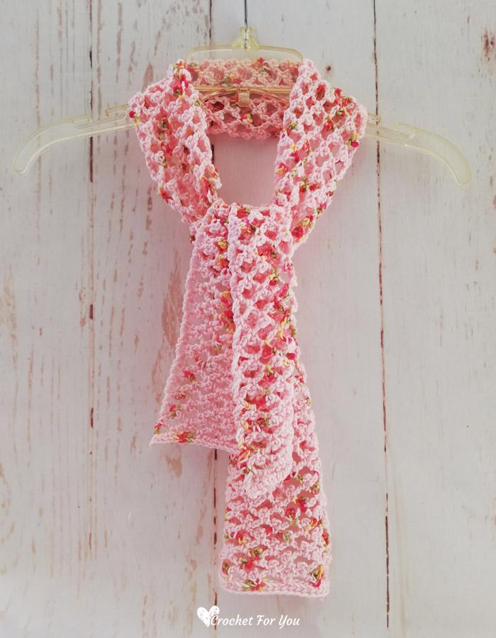 Picot Trellis Crochet Scarf Free Pattern