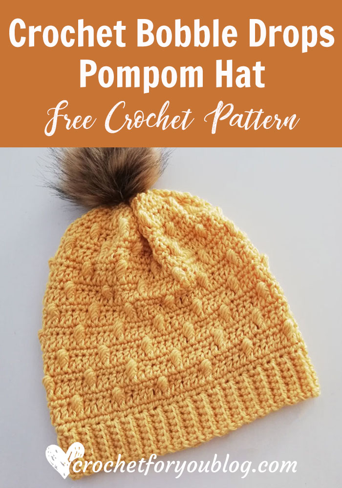 Crochet Bobble Drops Pompom Hat Free Pattern