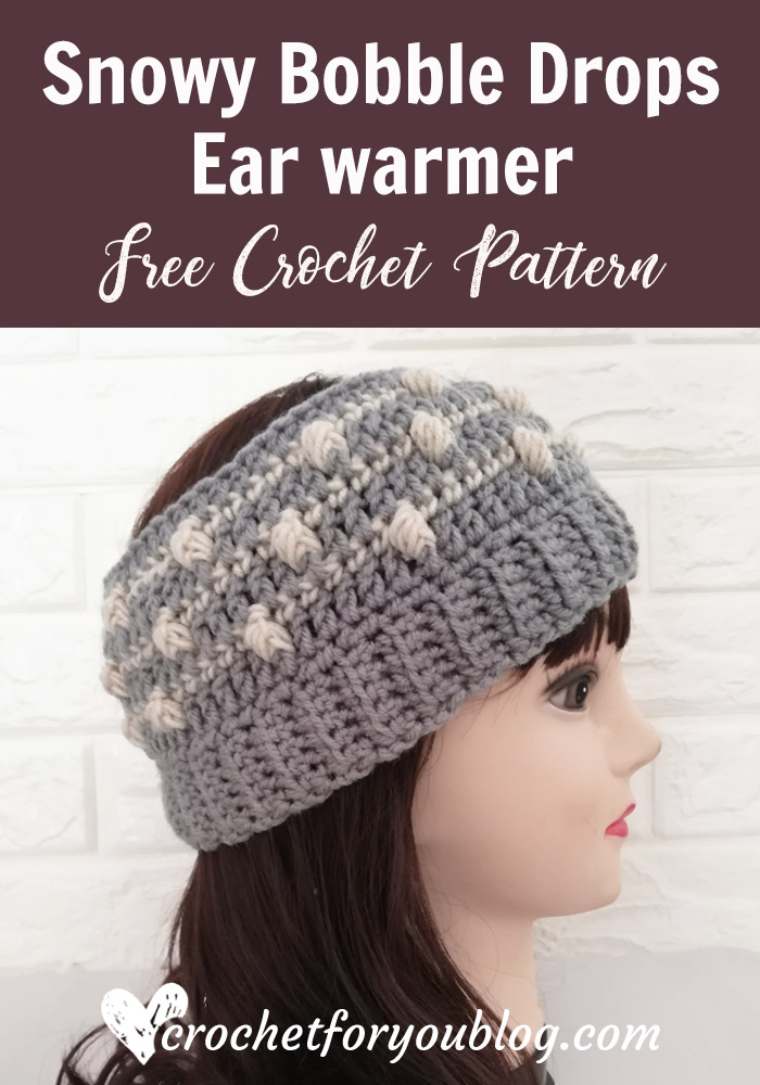 Crochet Snowy Bobble Drops Ear warmer Pattern