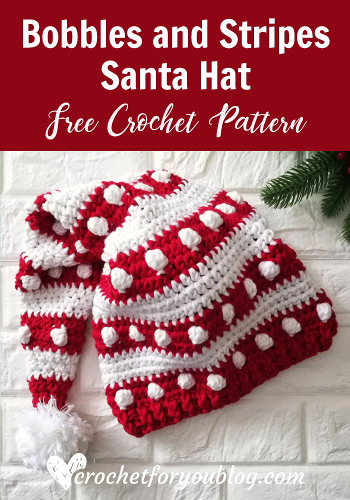 Crochet Bobbles and Stripes Santa Hat