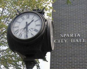 City of Sparta (clock and building)