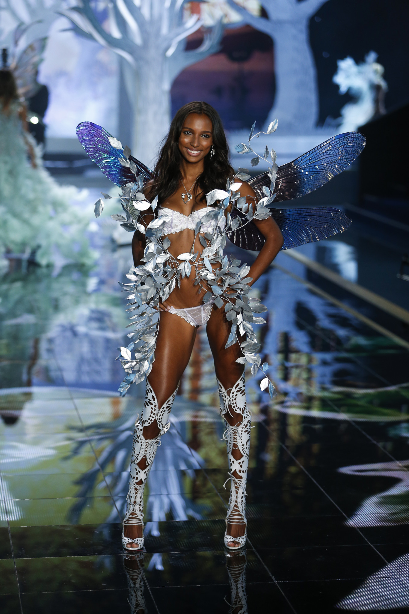 Jasmine Tookes walks the runway at the 2014 Victoria's Secret Fashion Show in London on December 2nd, 2014