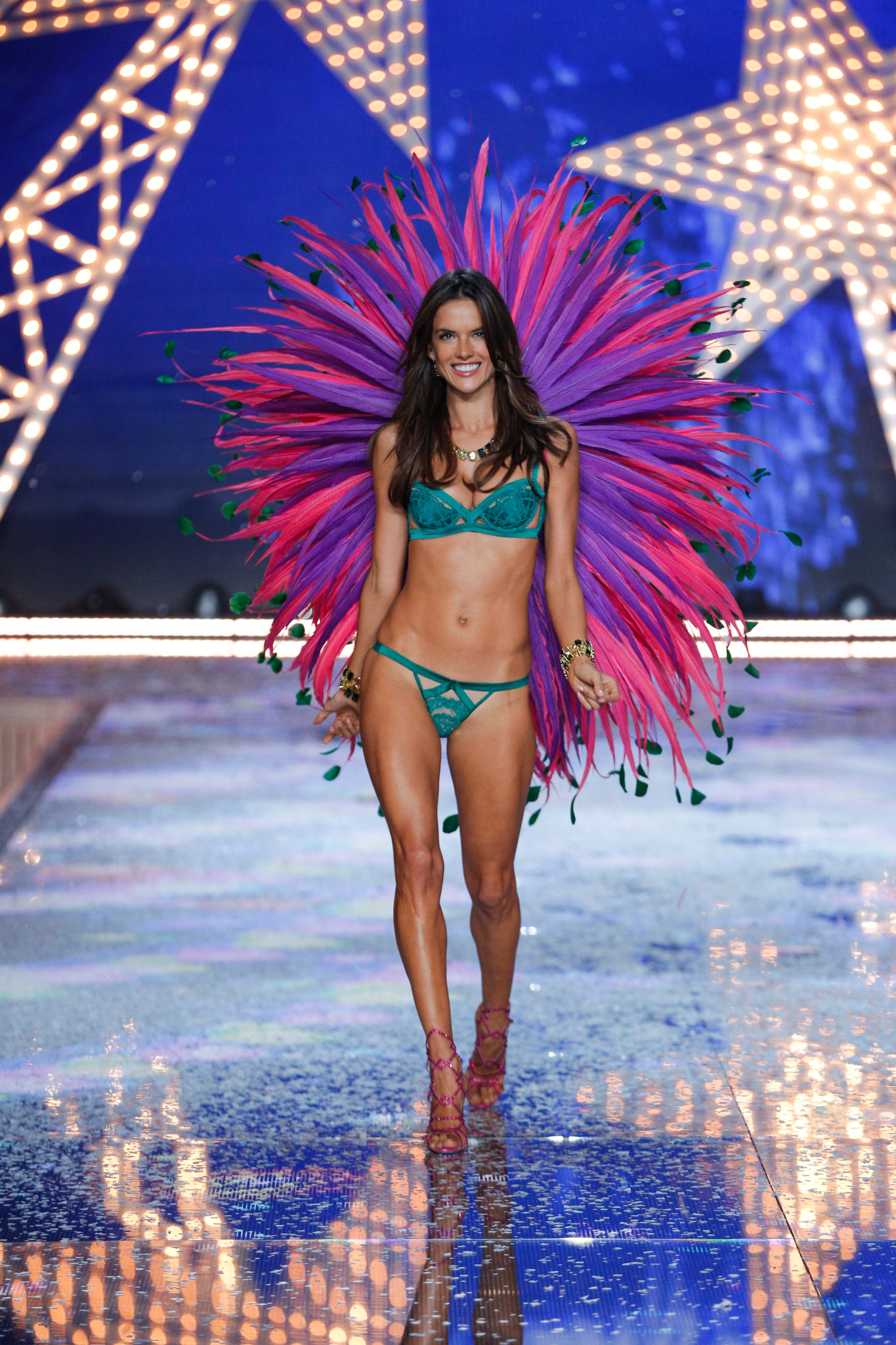Alessandra Ambrosio walks the runway at the 2015 Victoria's Secret Fashion Show in New York City on November 10th, 2015