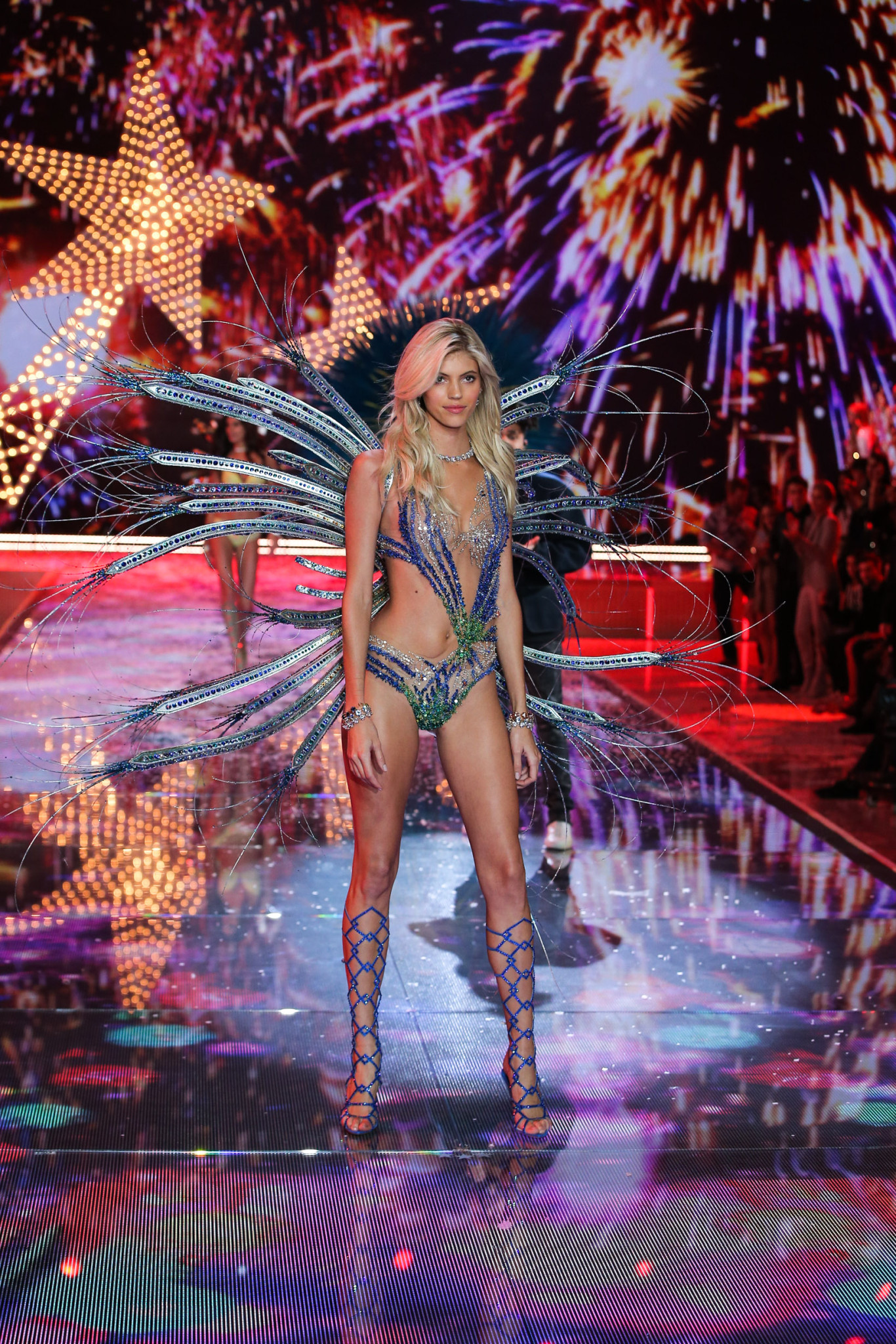 Devon walks the runway at the 2015 Victoria's Secret Fashion Show in New York City on November 10th, 2015