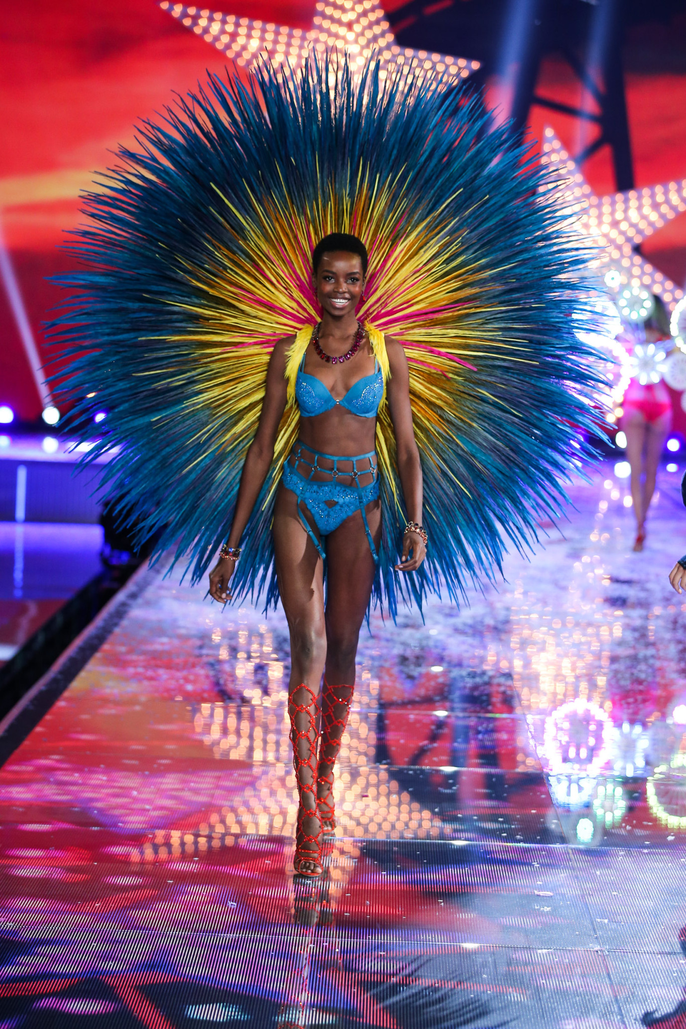 Maria walks the runway at the 2015 Victoria's Secret Fashion Show in New York City on November 10th, 2015