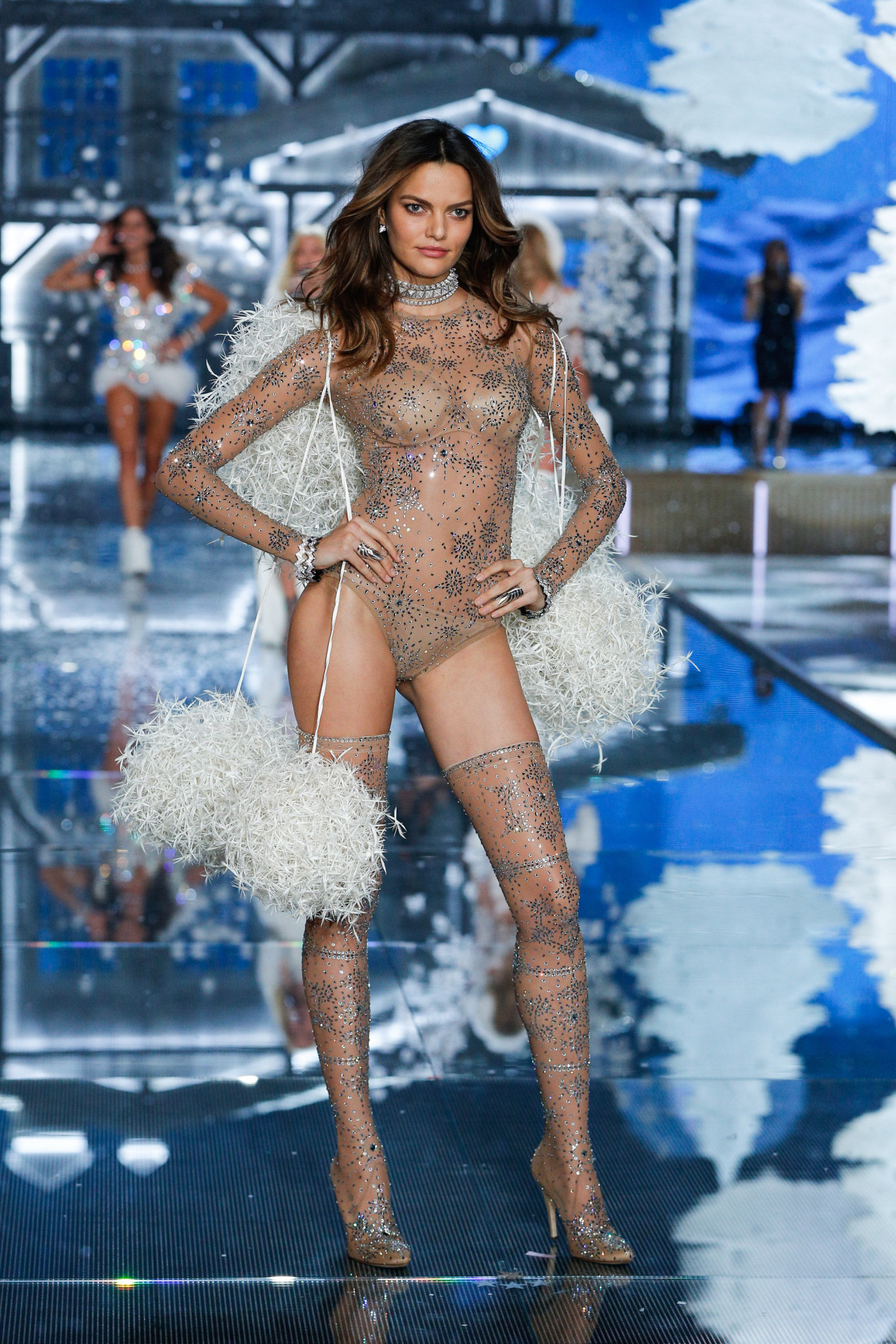 Barbara Fialho walks the runway at the 2015 Victoria's Secret Fashion Show in New York City on November 10th, 2015