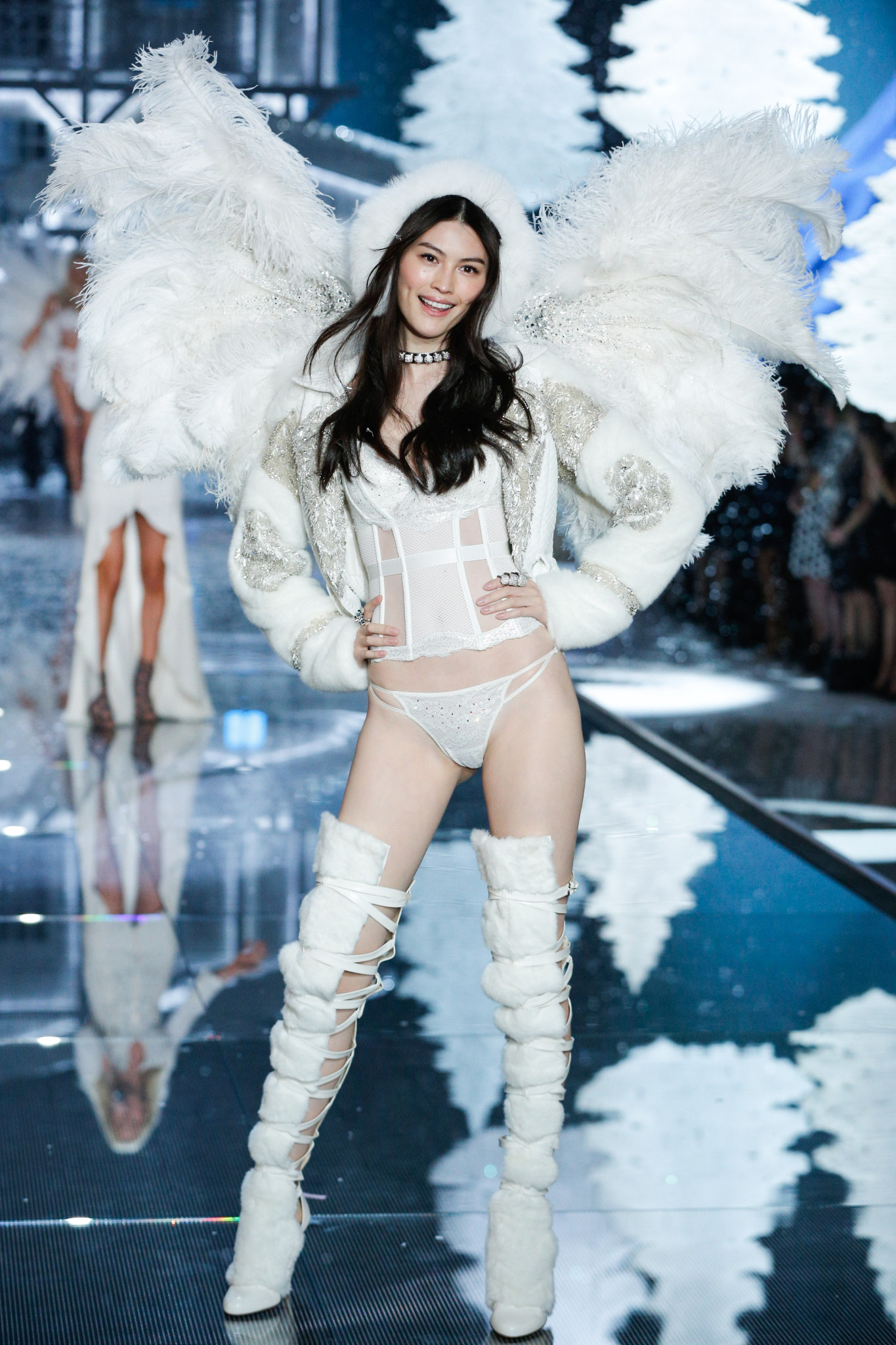 Sui He walks the runway at the 2015 Victoria's Secret Fashion Show in New York City on November 10th, 2015