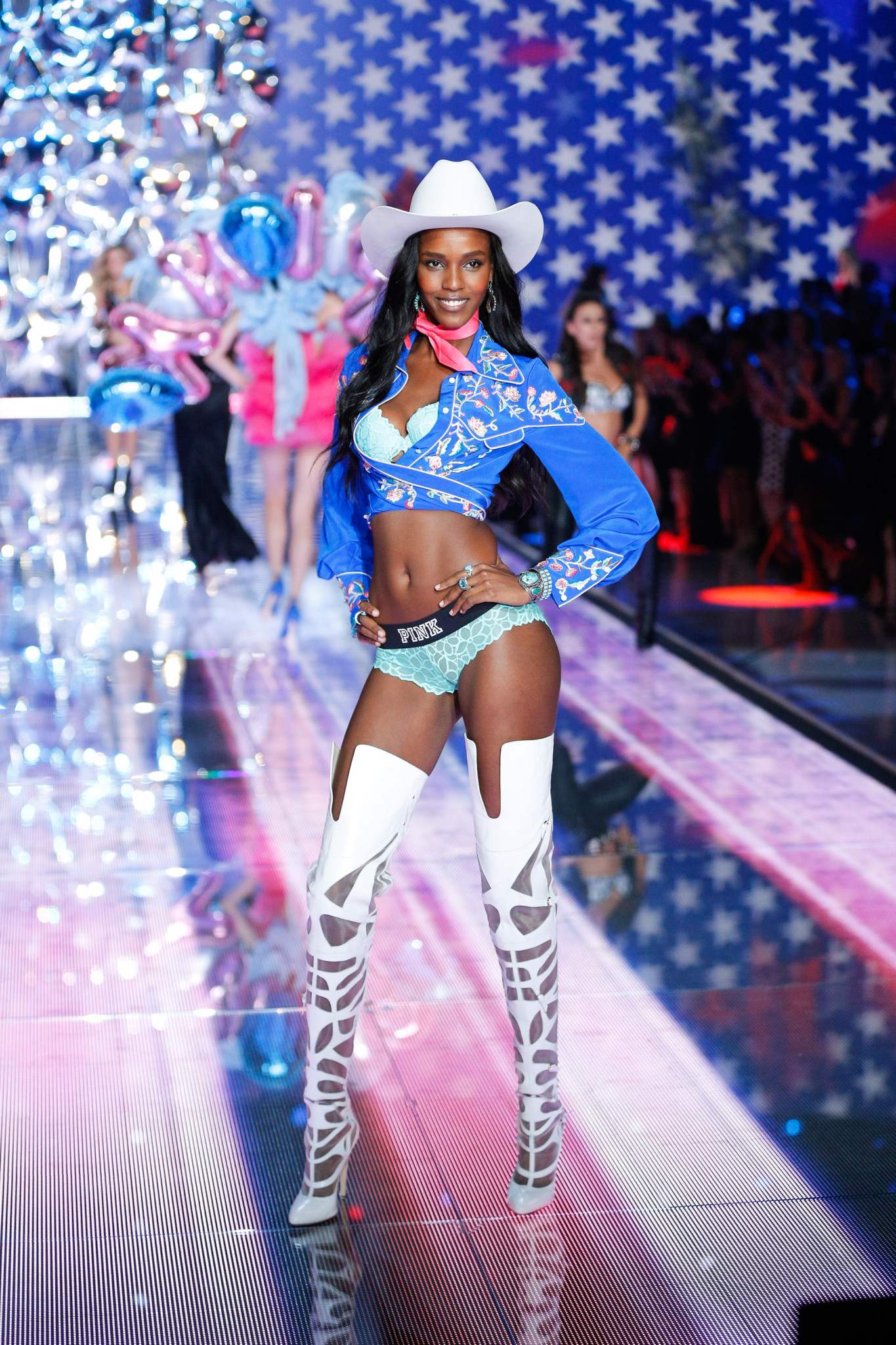 Leila Nda walks the runway at the 2015 Victoria's Secret Fashion Show in New York City on November 10th, 2015