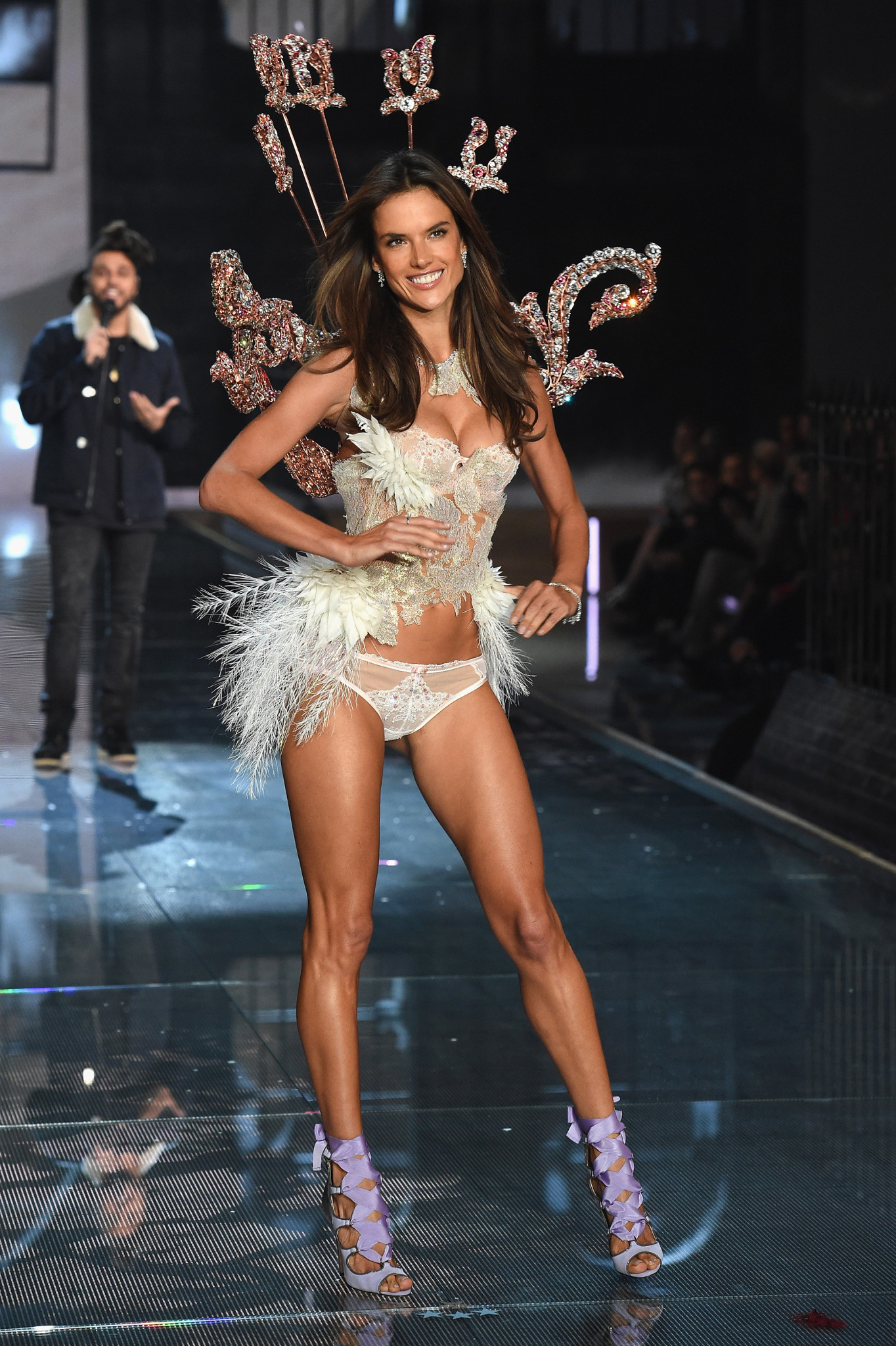 NEW YORK, NY - NOVEMBER 10: Model Alessandra Ambrosio walks the runway during the 2015 Victoria's Secret Fashion Show at Lexington Avenue Armory on November 10, 2015 in New York City.