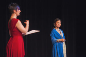 Moderator Angie Simmons leads discussion with audience. Choreographer Deepali responds. Photography by Amanda Tipton.