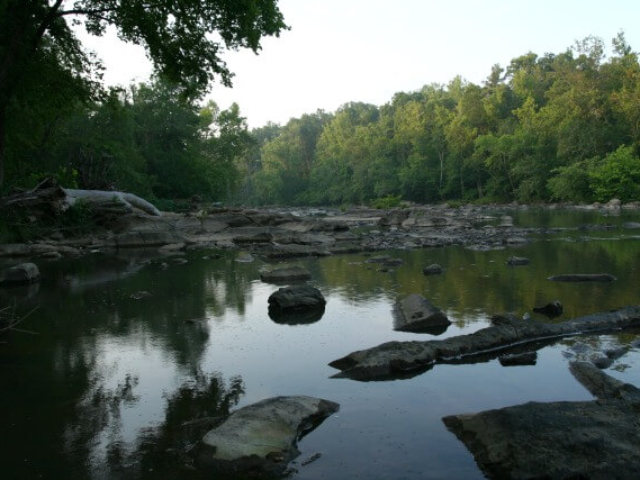 a photo of the Haw River with rocks in the foreground and trees in the background taken from SFNA camping area