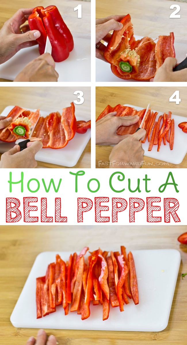 The easiest way to cut a bell pepper-- I have been doing it all wrong! (super fun video tutorial) | Fast Forward Fun