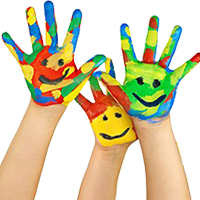Volunteer rainbow painted hands