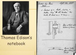 "Thomas Edison's Notebook, from ""The Thomas Edison Papers."" Rutgers."