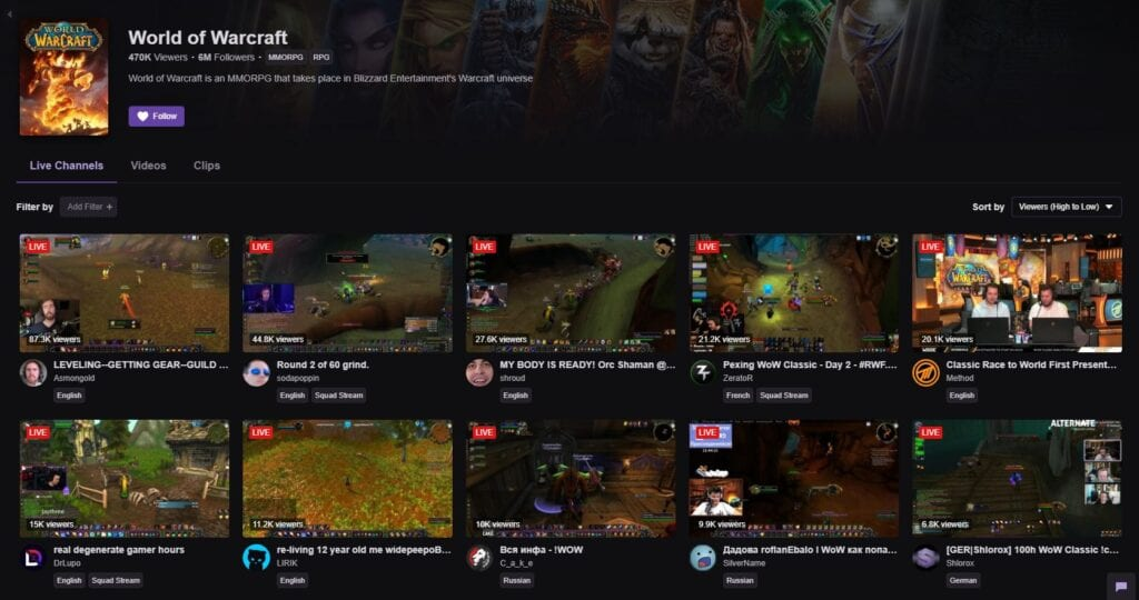 World of Warcraft Classic Twitch