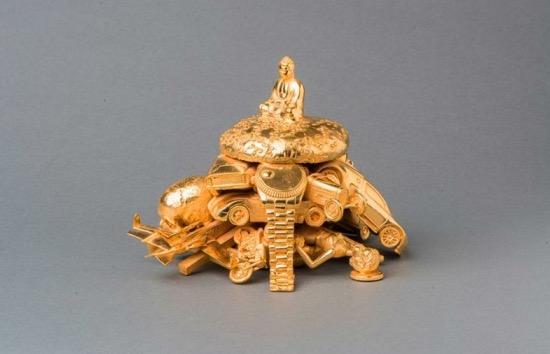 Buddha Burger, bronze casting gold plated, unique edition, 2015