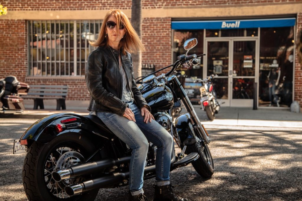 Bernadette Murphy on her Harley