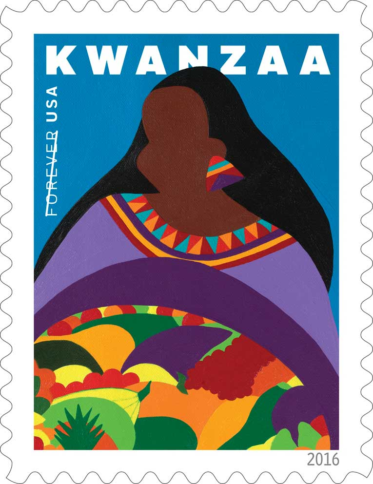 ART TODAY 11.22.17 Kwanzaa Forever Postage Stamp by Synthia SAINT JAMES – What is KWANZAA, you ask?