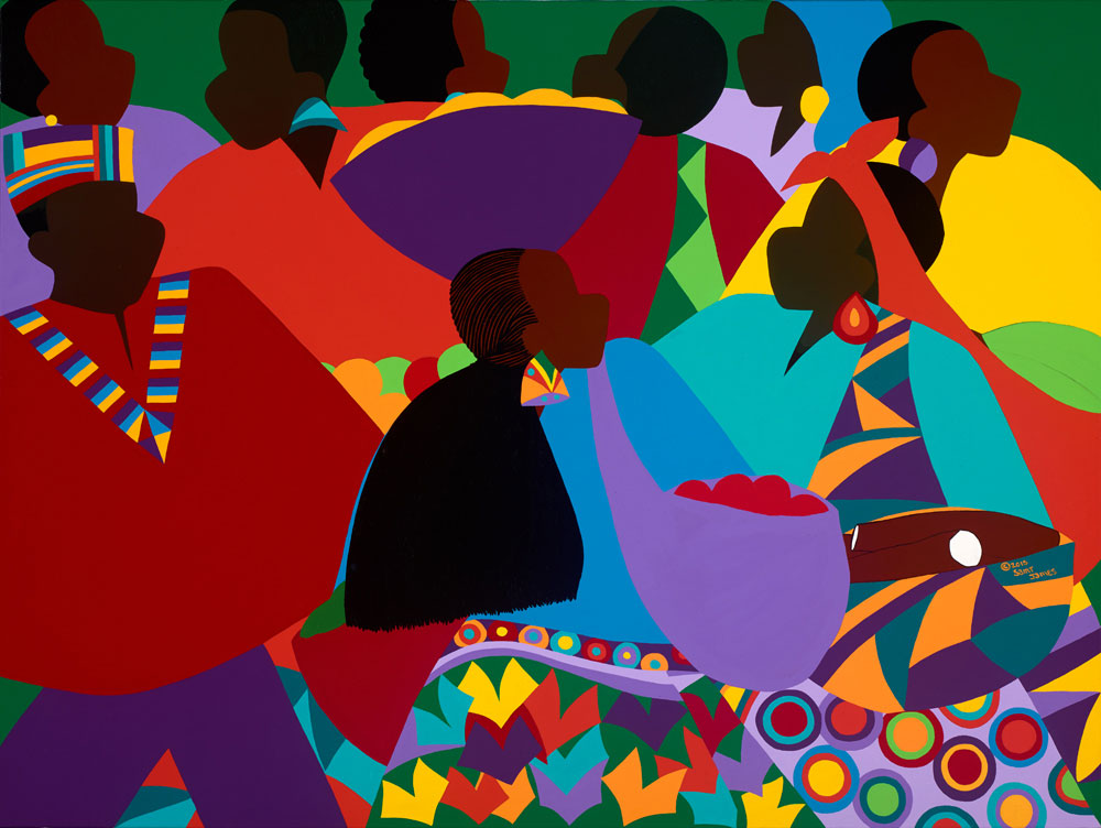 """ART TODAY 11.23.17 """"Masekela's Marketplace: Congo"""" by Synthia SAINT JAMES + video receiving her Doctor of Humane Letters"""