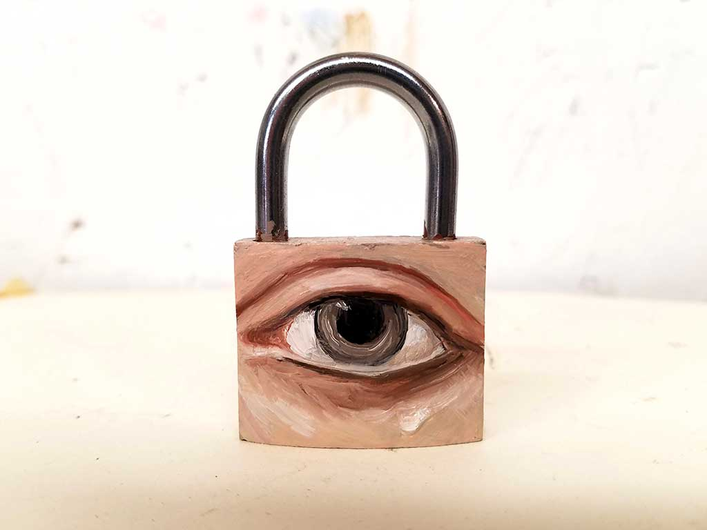 "ART TODAY 020718 Padlock eye by Alexandra Dillon, ""We are all in some sort of bondage, usually self-inflicted"""