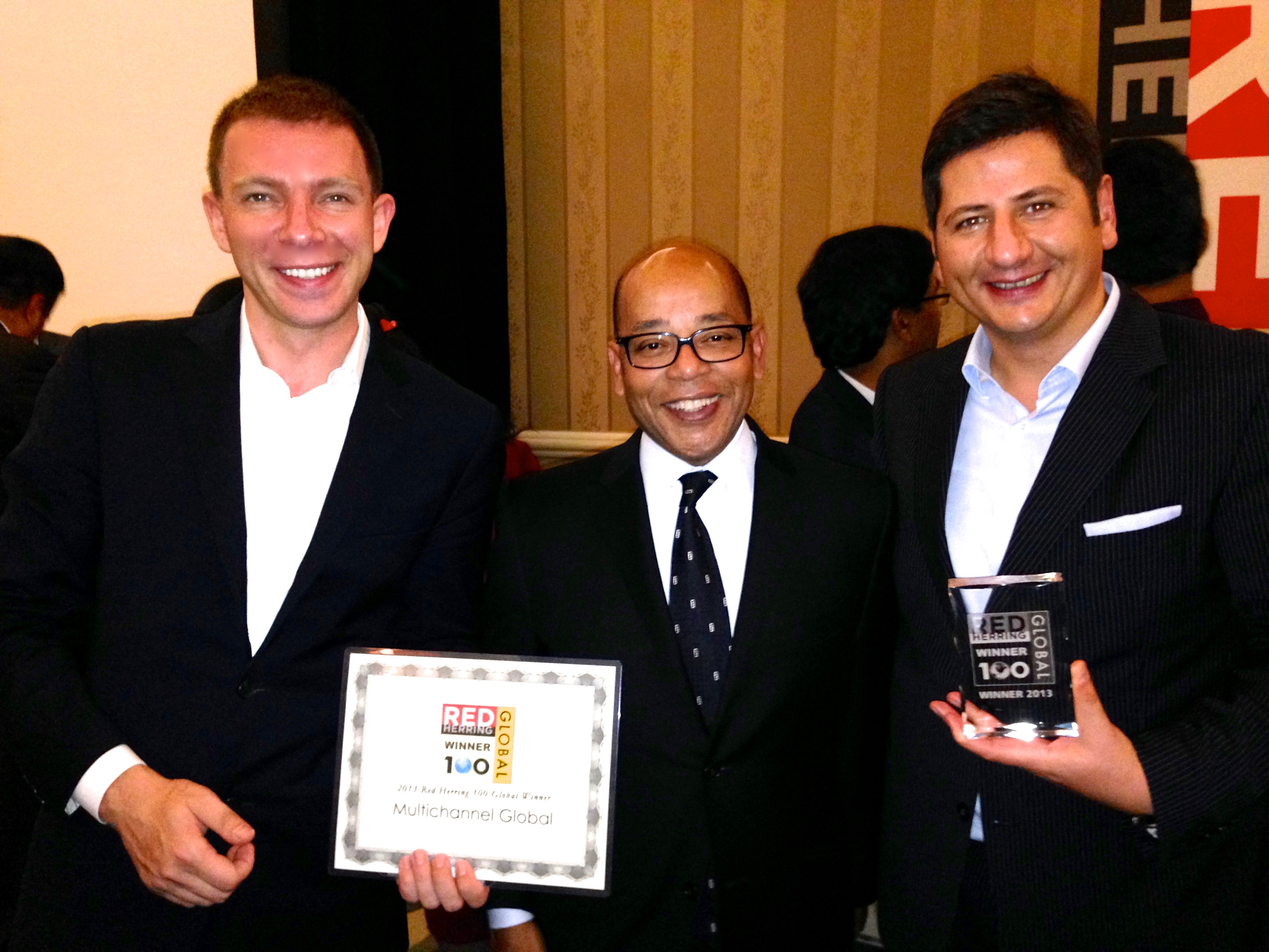 Dmitry Fedotov, winner of Red Herring Global with Alex Vieux and Thomas Molnar at Santa Monica award ceremony.
