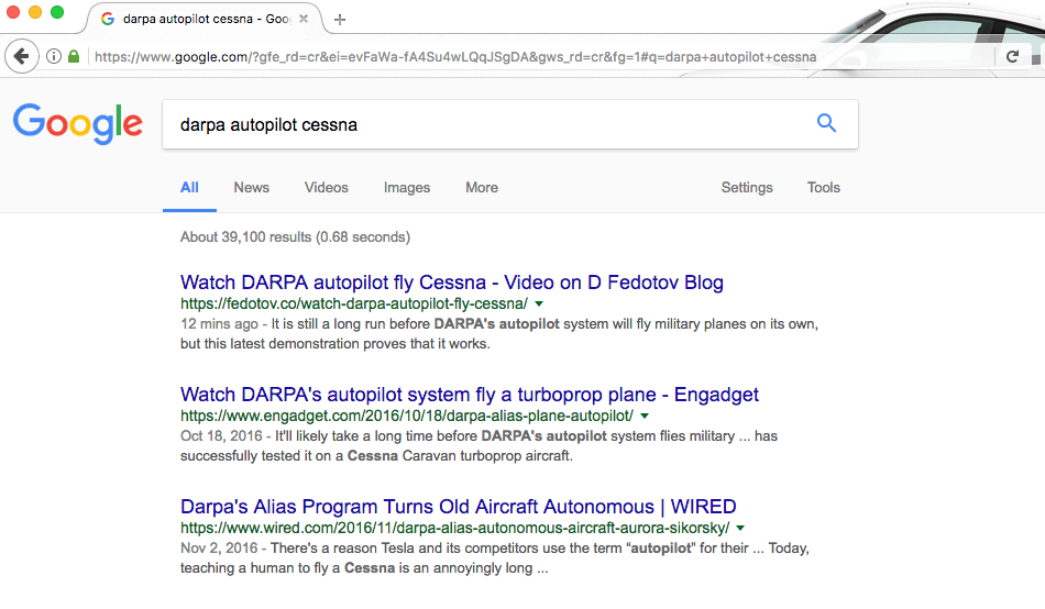 Google search result on DARPA autopilot @Dmitry Fedotov